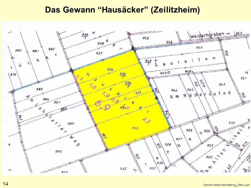 Gewannebewirtschaftung_OeKL.ppt 14 Das Gewann Hausäcker (Zeilitzheim)