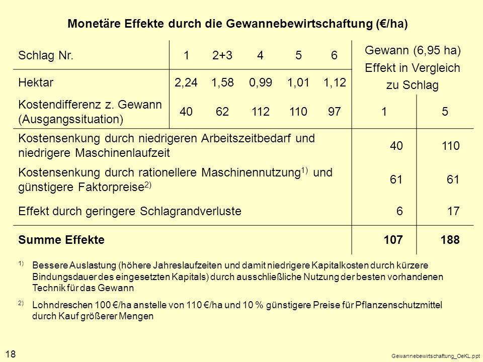 Gewannebewirtschaftung_OeKL.ppt 18 Schlag Nr.12+3456 Gewann (6,95 ha) Effekt in Vergleich zu Schlag Hektar2,241,580,991,011,12 Kostendifferenz z. Gewa