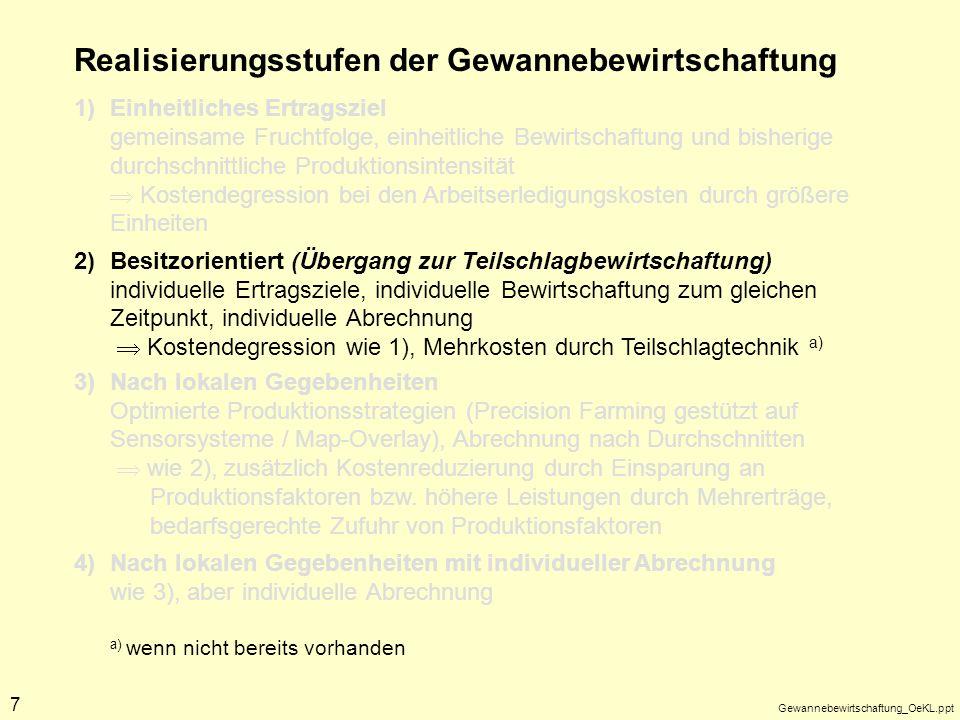 Gewannebewirtschaftung_OeKL.ppt 7 Realisierungsstufen der Gewannebewirtschaftung 1)Einheitliches Ertragsziel gemeinsame Fruchtfolge, einheitliche Bewi