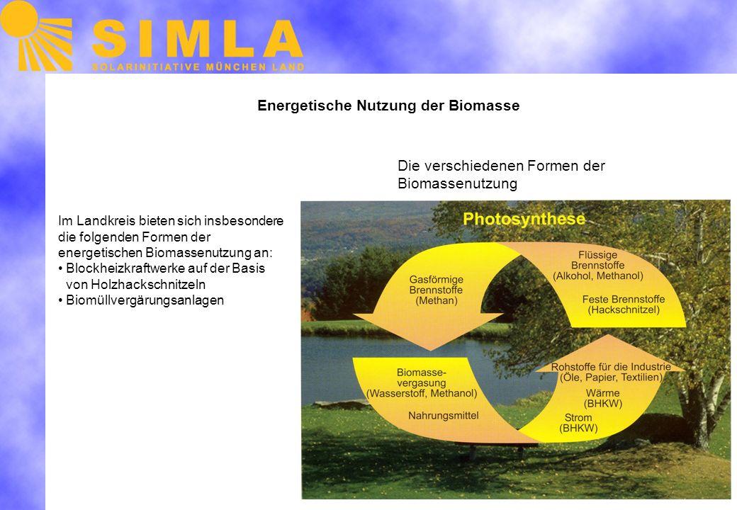 Energetische Nutzung der Biomasse Im Landkreis bieten sich insbesondere die folgenden Formen der energetischen Biomassenutzung an: Blockheizkraftwerke auf der Basis von Holzhackschnitzeln Biomüllvergärungsanlagen Die verschiedenen Formen der Biomassenutzung