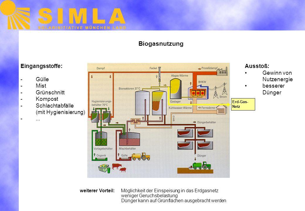 Biogasnutzung Erd-Gas- Netz Eingangsstoffe: -Gülle -Mist -Grünschnitt -Kompost -Schlachtabfälle (mit Hygienisierung) -...