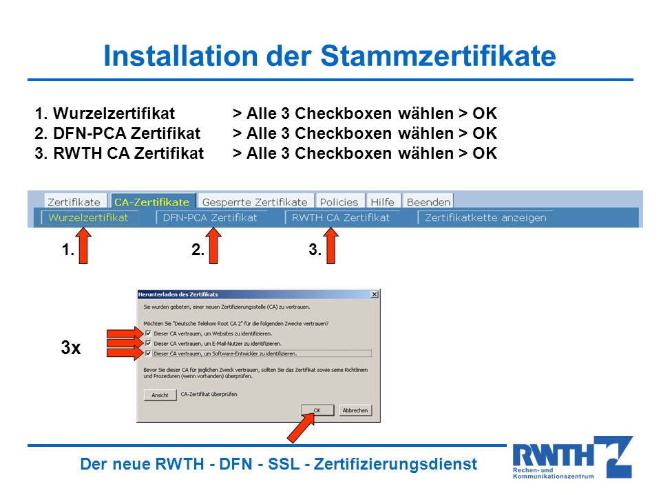 Der neue RWTH - DFN - SSL - Zertifizierungsdienst Speichern der Stammzertifikate 1.