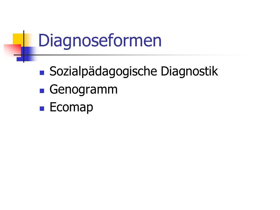 Diagnoseformen Sozialpädagogische Diagnostik Genogramm Ecomap