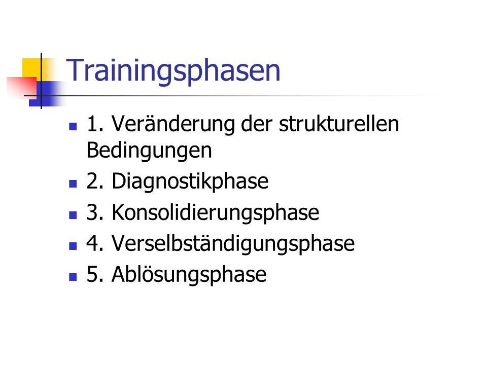 Trainingsphasen 1. Veränderung der strukturellen Bedingungen 2. Diagnostikphase 3. Konsolidierungsphase 4. Verselbständigungsphase 5. Ablösungsphase