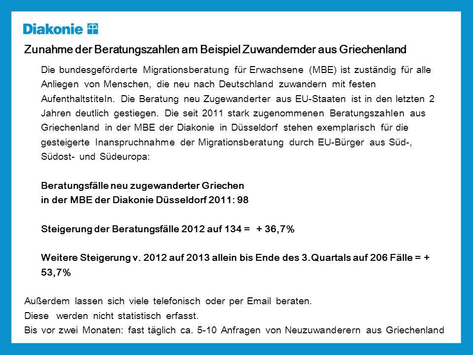 Zunahme der Beratungszahlen am Beispiel Zuwandernder aus Griechenland Die bundesgeförderte Migrationsberatung für Erwachsene (MBE) ist zuständig für alle Anliegen von Menschen, die neu nach Deutschland zuwandern mit festen Aufenthaltstiteln.