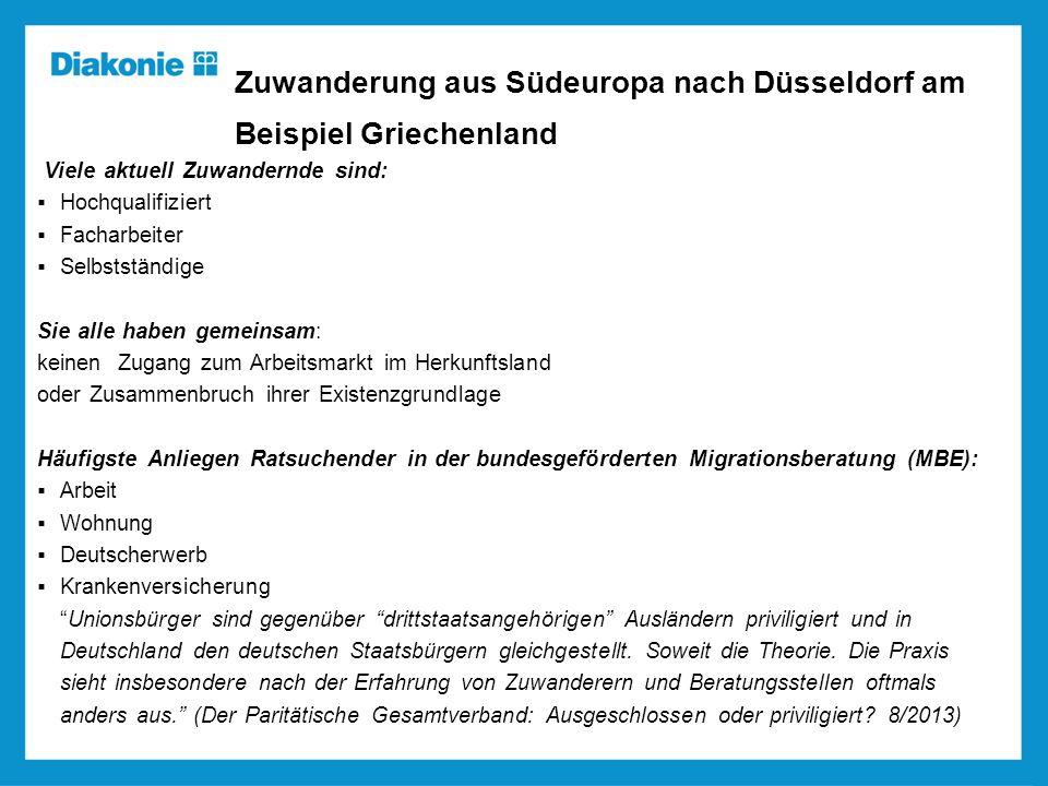 Zuwanderung aus Südeuropa nach Düsseldorf am Beispiel Griechenland Viele aktuell Zuwandernde sind: Hochqualifiziert Facharbeiter Selbstständige Sie al