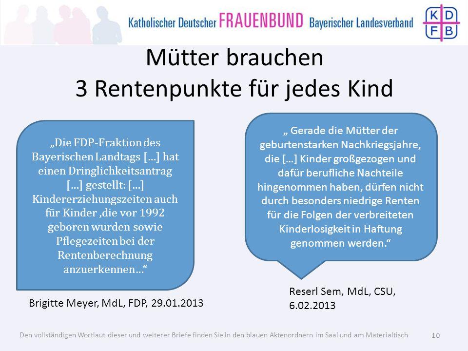 Mütter brauchen 3 Rentenpunkte für jedes Kind Die FDP-Fraktion des Bayerischen Landtags […] hat einen Dringlichkeitsantrag […] gestellt: […] Kindererz