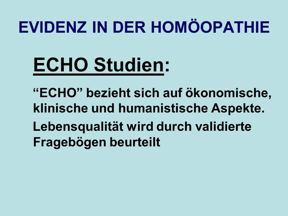 EVIDENZ IN DER HOMÖOPATHIE ECHO Studien: ECHO bezieht sich auf ökonomische, klinische und humanistische Aspekte. Lebensqualität wird durch validierte