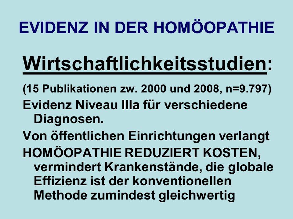 EVIDENZ IN DER HOMÖOPATHIE Wirtschaftlichkeitsstudien: (15 Publikationen zw. 2000 und 2008, n=9.797) IIIa Evidenz Niveau IIIa für verschiedene Diagnos