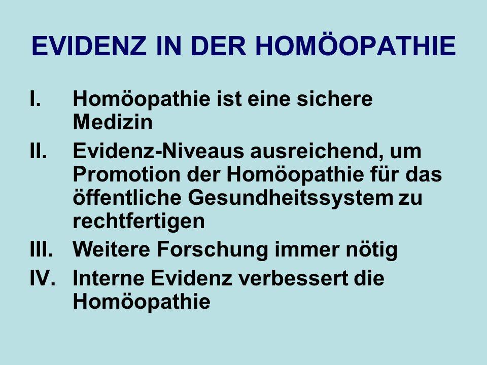 EVIDENZ IN DER HOMÖOPATHIE I.Homöopathie ist eine sichere Medizin II.Evidenz-Niveaus ausreichend, um Promotion der Homöopathie für das öffentliche Ges