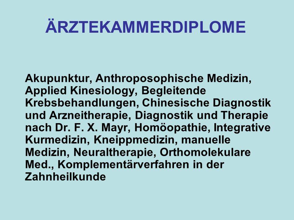 Akupunktur, Anthroposophische Medizin, Applied Kinesiology, Begleitende Krebsbehandlungen, Chinesische Diagnostik und Arzneitherapie, Diagnostik und T