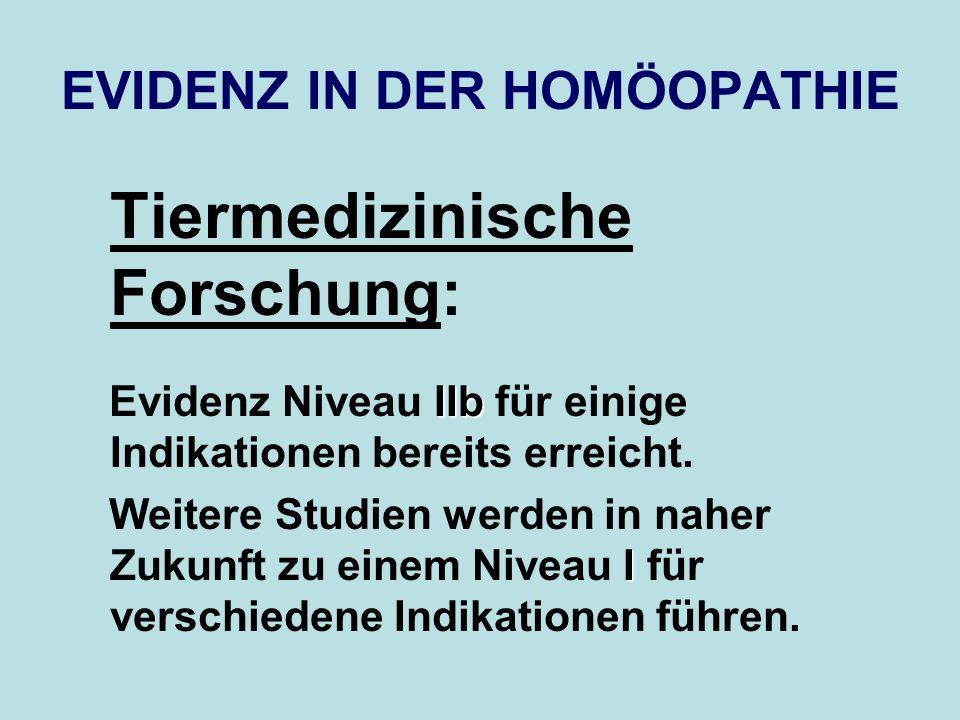 EVIDENZ IN DER HOMÖOPATHIE Tiermedizinische Forschung: IIb Evidenz Niveau IIb für einige Indikationen bereits erreicht. I Weitere Studien werden in na