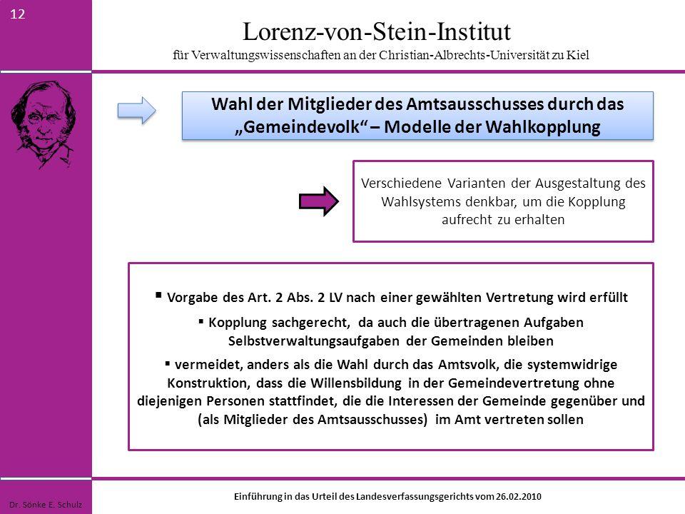 Lorenz-von-Stein-Institut für Verwaltungswissenschaften an der Christian-Albrechts-Universität zu Kiel 12 Verschiedene Varianten der Ausgestaltung des