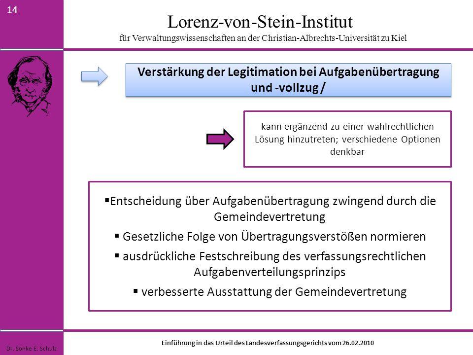 Lorenz-von-Stein-Institut für Verwaltungswissenschaften an der Christian-Albrechts-Universität zu Kiel 14 kann ergänzend zu einer wahlrechtlichen Lösu