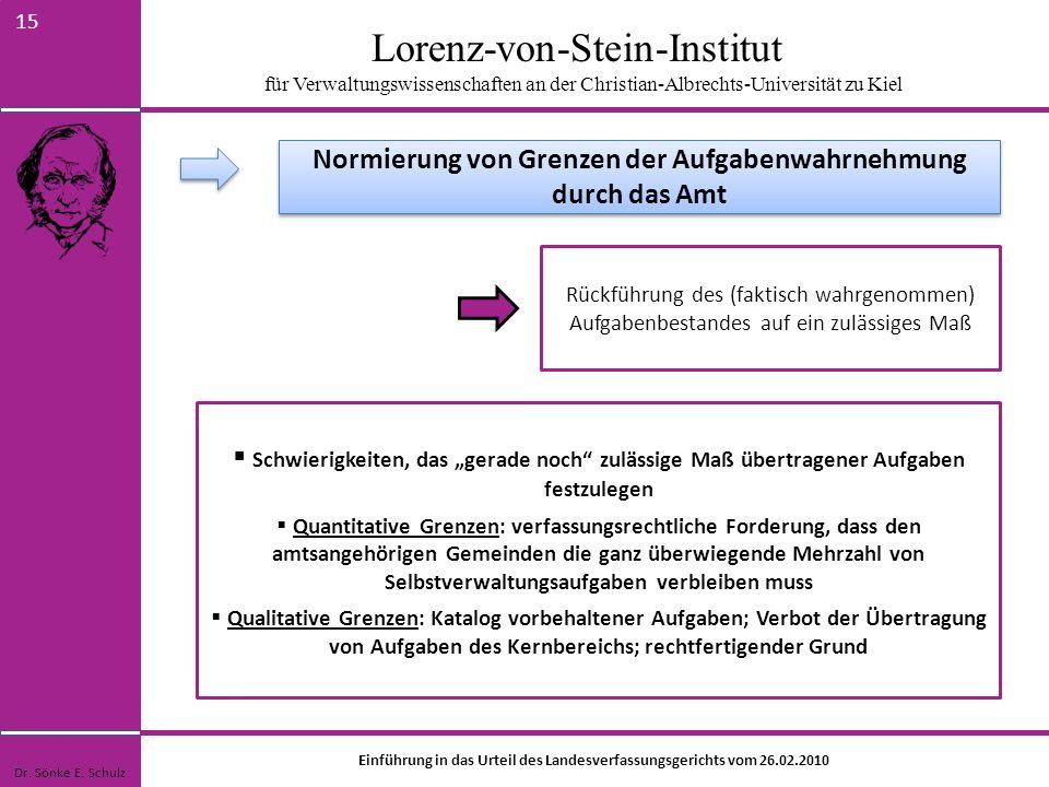 Lorenz-von-Stein-Institut für Verwaltungswissenschaften an der Christian-Albrechts-Universität zu Kiel 15 Rückführung des (faktisch wahrgenommen) Aufg