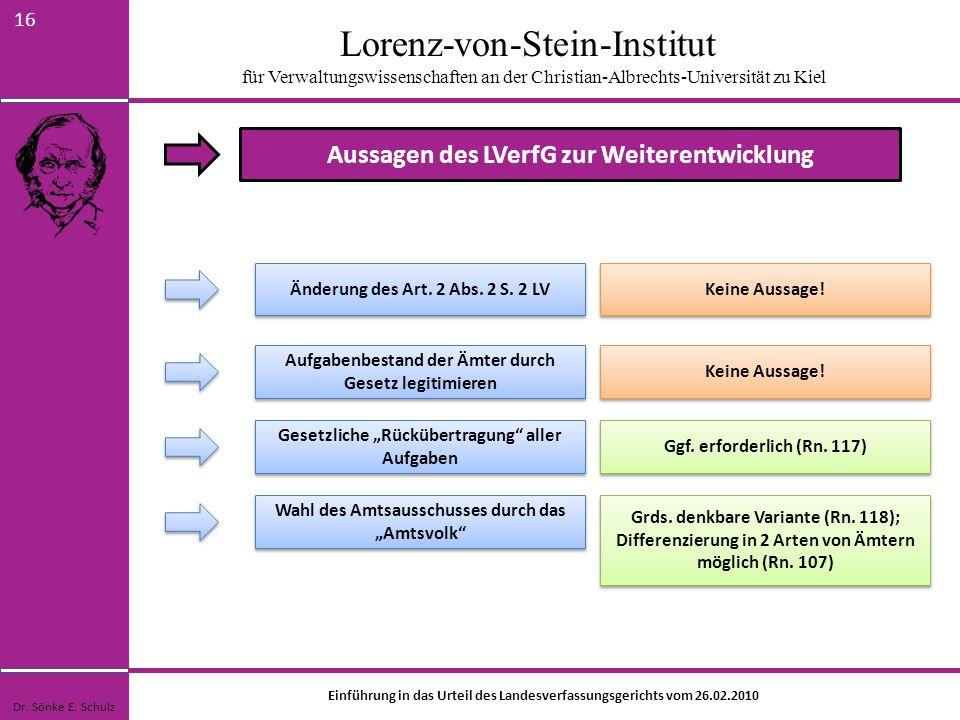 Lorenz-von-Stein-Institut für Verwaltungswissenschaften an der Christian-Albrechts-Universität zu Kiel 16 Aussagen des LVerfG zur Weiterentwicklung Än