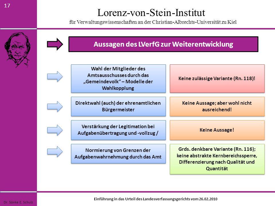 Lorenz-von-Stein-Institut für Verwaltungswissenschaften an der Christian-Albrechts-Universität zu Kiel 17 Aussagen des LVerfG zur Weiterentwicklung Wa