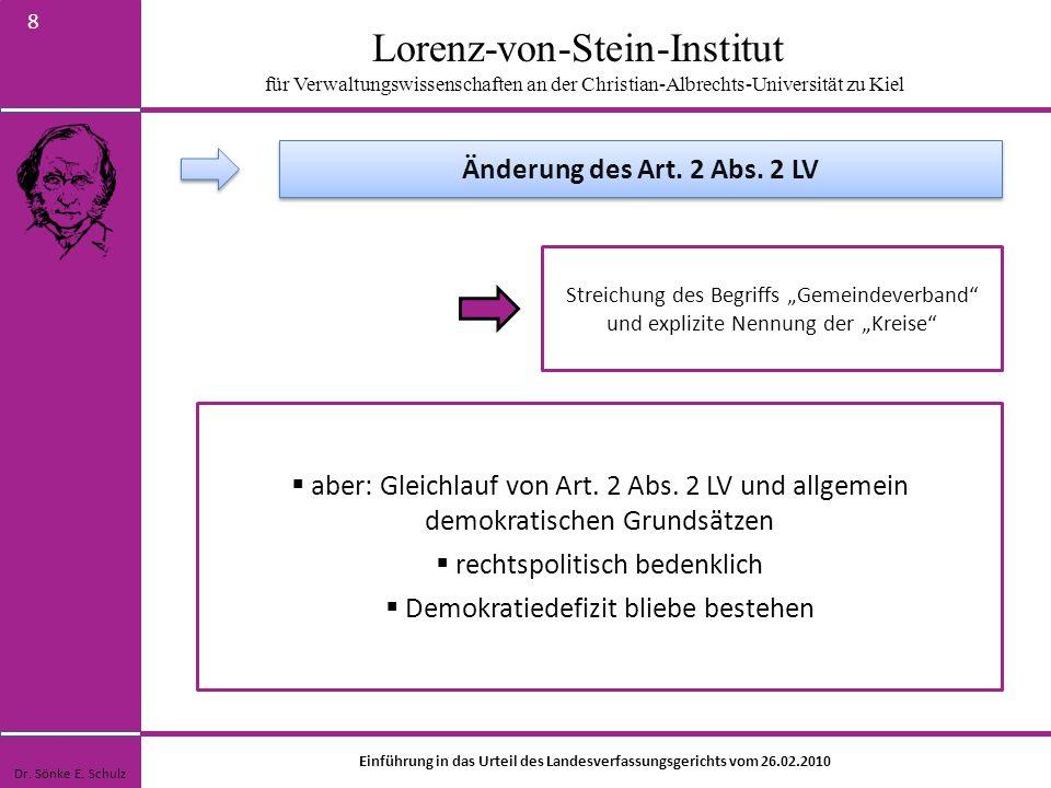 Lorenz-von-Stein-Institut für Verwaltungswissenschaften an der Christian-Albrechts-Universität zu Kiel 8 Streichung des Begriffs Gemeindeverband und e