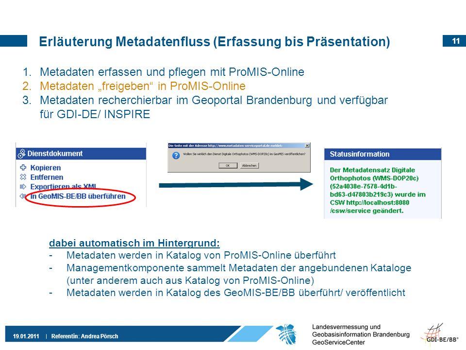 11 19.01.2011 Referentin: Andrea Pörsch 1.Metadaten erfassen und pflegen mit ProMIS-Online 2.Metadaten freigeben in ProMIS-Online 3.Metadaten recherchierbar im Geoportal Brandenburg und verfügbar für GDI-DE/ INSPIRE dabei automatisch im Hintergrund: -Metadaten werden in Katalog von ProMIS-Online überführt -Managementkomponente sammelt Metadaten der angebundenen Kataloge (unter anderem auch aus Katalog von ProMIS-Online) -Metadaten werden in Katalog des GeoMIS-BE/BB überführt/ veröffentlicht Erläuterung Metadatenfluss (Erfassung bis Präsentation)