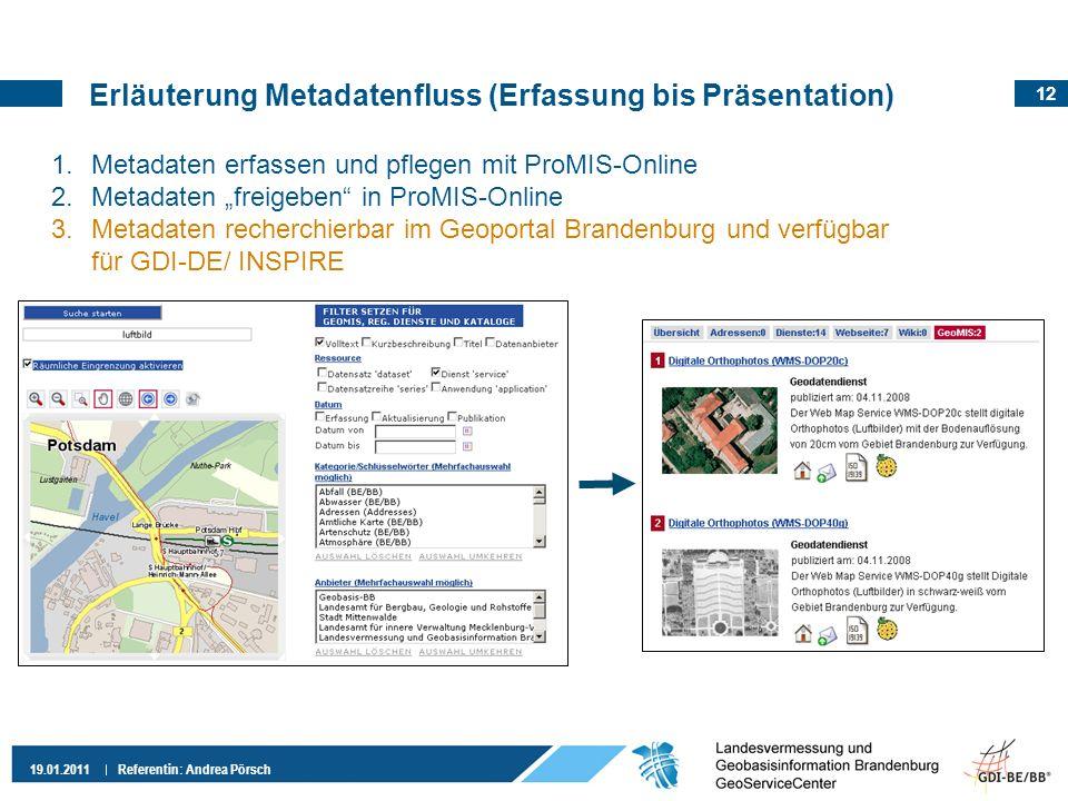 12 19.01.2011 Referentin: Andrea Pörsch 1.Metadaten erfassen und pflegen mit ProMIS-Online 2.Metadaten freigeben in ProMIS-Online 3.Metadaten recherch