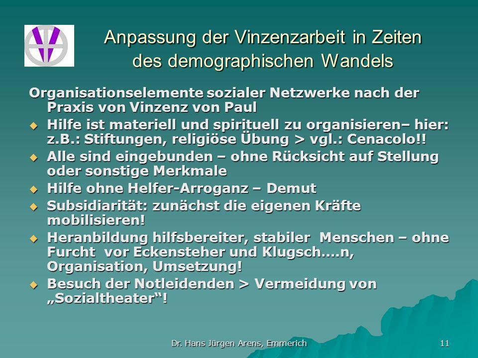 Dr. Hans Jürgen Arens, Emmerich 11 Anpassung der Vinzenzarbeit in Zeiten des demographischen Wandels Organisationselemente sozialer Netzwerke nach der