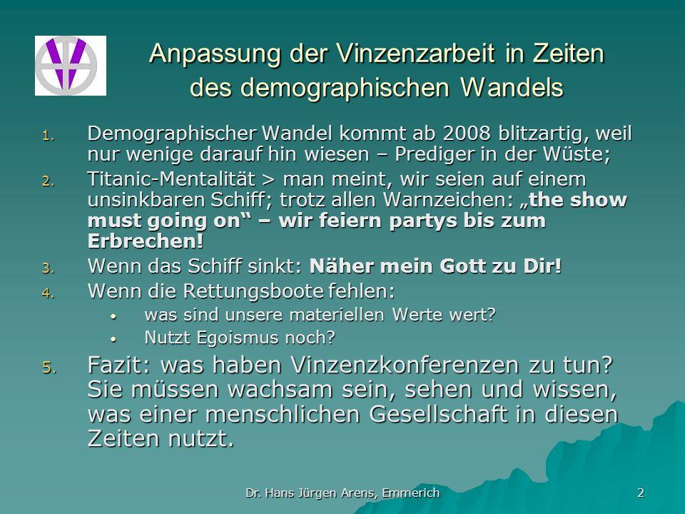 Dr. Hans Jürgen Arens, Emmerich 2 Anpassung der Vinzenzarbeit in Zeiten des demographischen Wandels 1. Demographischer Wandel kommt ab 2008 blitzartig