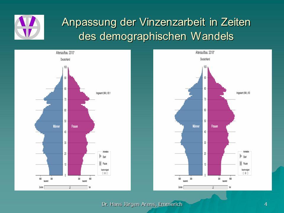 Dr. Hans Jürgen Arens, Emmerich 4 Anpassung der Vinzenzarbeit in Zeiten des demographischen Wandels