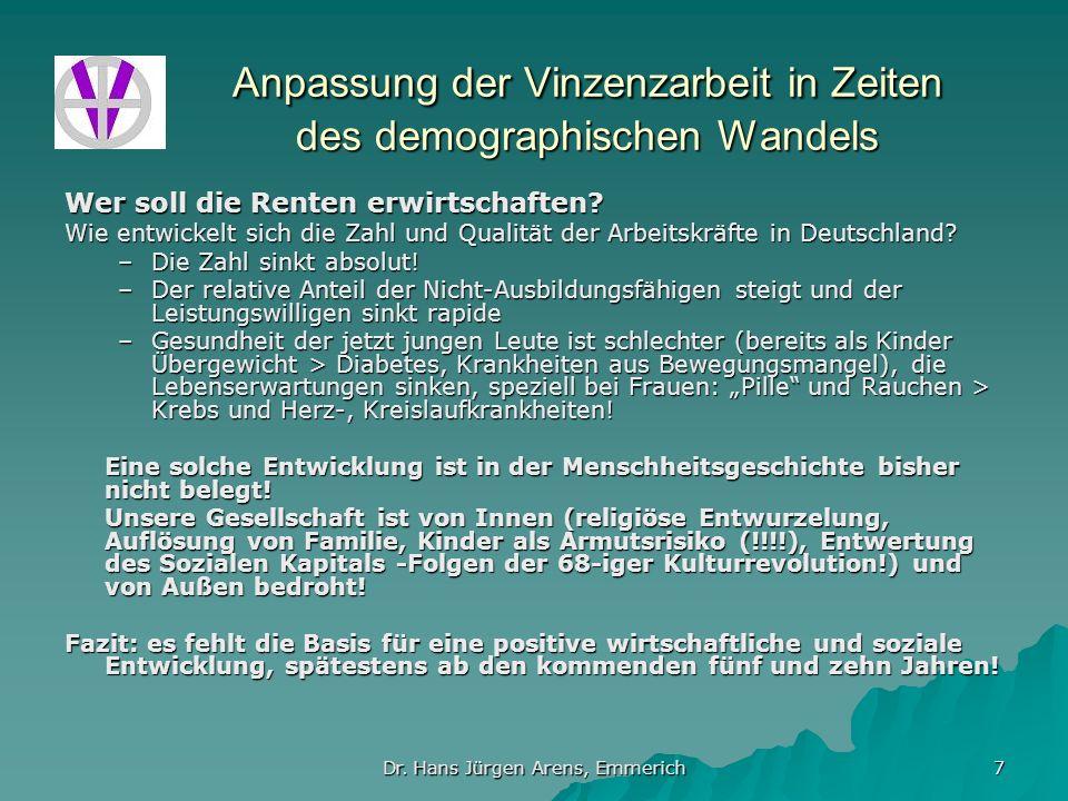 Dr. Hans Jürgen Arens, Emmerich 7 Anpassung der Vinzenzarbeit in Zeiten des demographischen Wandels Wer soll die Renten erwirtschaften? Wie entwickelt