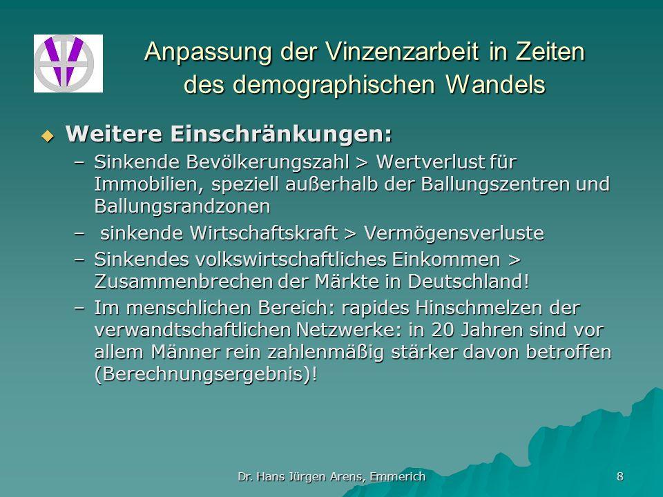 Dr. Hans Jürgen Arens, Emmerich 8 Anpassung der Vinzenzarbeit in Zeiten des demographischen Wandels Weitere Einschränkungen: Weitere Einschränkungen:
