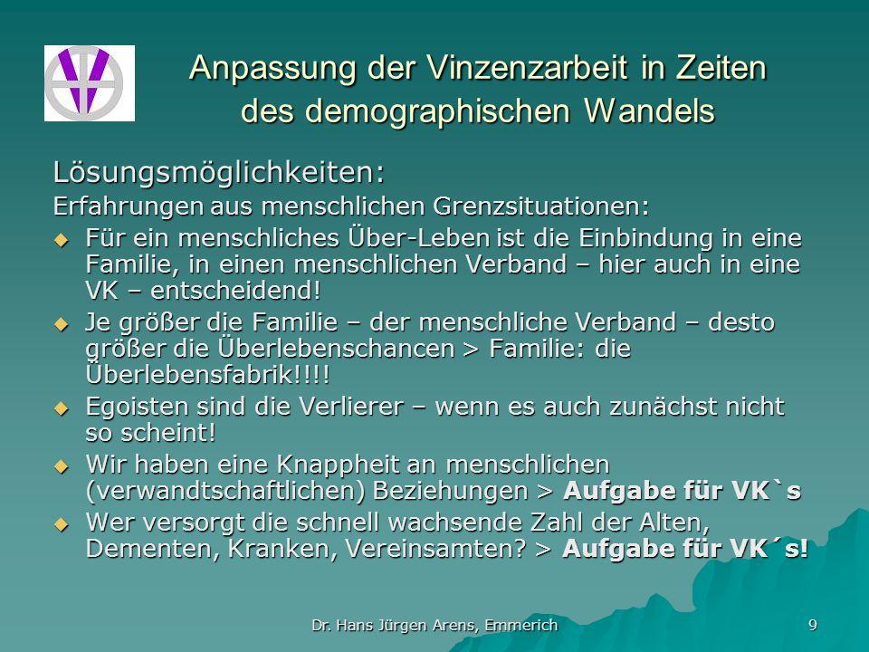 Dr. Hans Jürgen Arens, Emmerich 9 Anpassung der Vinzenzarbeit in Zeiten des demographischen Wandels Lösungsmöglichkeiten: Erfahrungen aus menschlichen