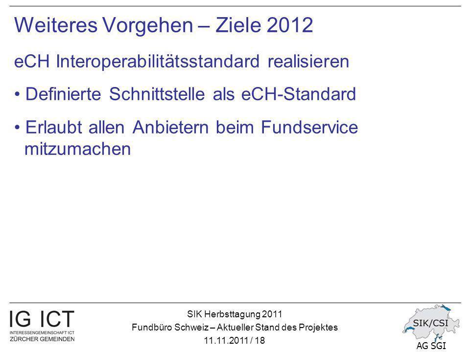 SIK Herbsttagung 2011 Fundbüro Schweiz – Aktueller Stand des Projektes 11.11.2011 / 18 AG SGI Weiteres Vorgehen – Ziele 2012 eCH Interoperabilitätsstandard realisieren Definierte Schnittstelle als eCH-Standard Erlaubt allen Anbietern beim Fundservice mitzumachen