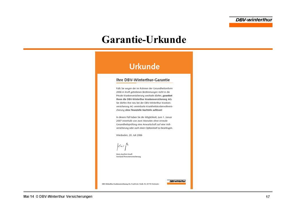 17 Mai 14 © DBV-Winterthur Versicherungen Garantie-Urkunde