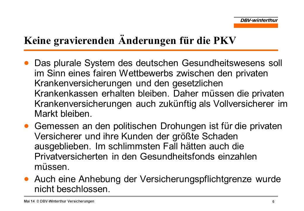 6 Mai 14 © DBV-Winterthur Versicherungen Keine gravierenden Änderungen für die PKV Das plurale System des deutschen Gesundheitswesens soll im Sinn ein