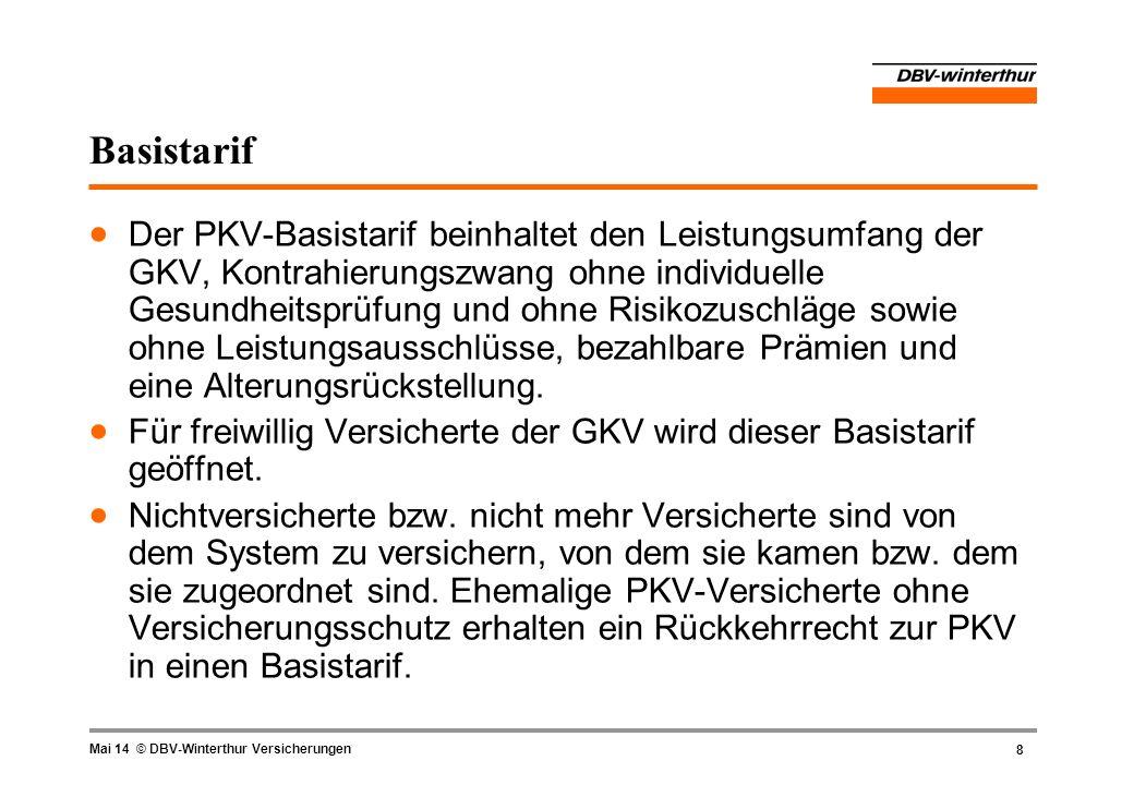 8 Mai 14 © DBV-Winterthur Versicherungen Basistarif Der PKV-Basistarif beinhaltet den Leistungsumfang der GKV, Kontrahierungszwang ohne individuelle G