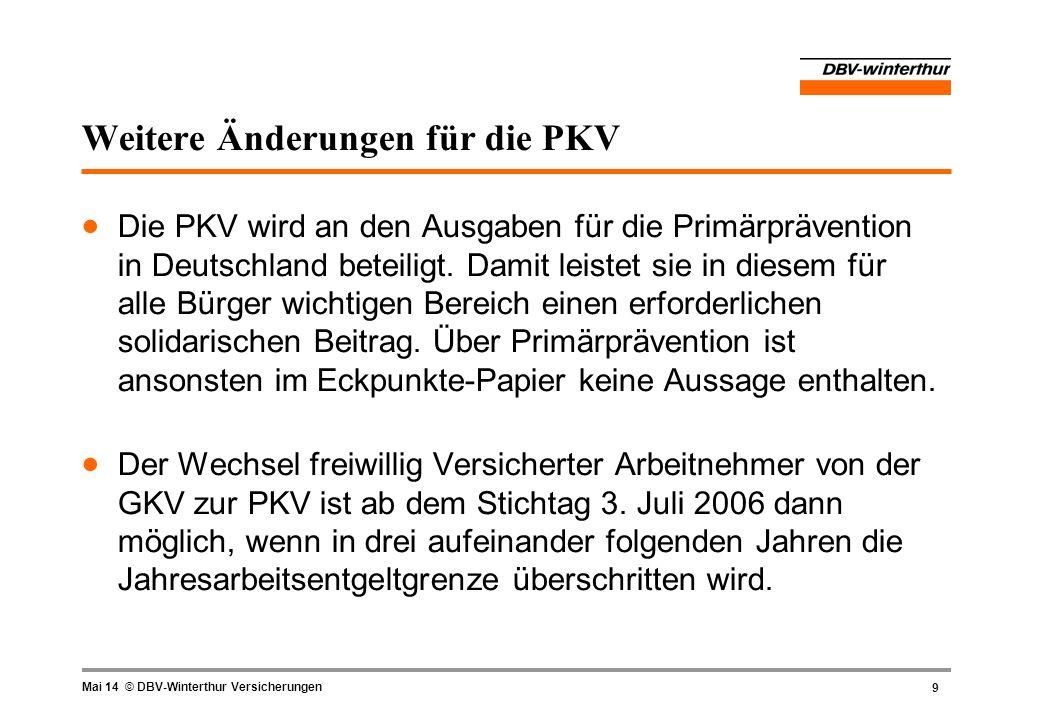 9 Mai 14 © DBV-Winterthur Versicherungen Weitere Änderungen für die PKV Die PKV wird an den Ausgaben für die Primärprävention in Deutschland beteiligt