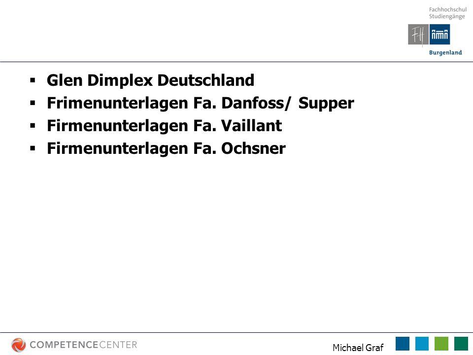 Michael Graf Quellen Glen Dimplex Deutschland Frimenunterlagen Fa. Danfoss/ Supper Firmenunterlagen Fa. Vaillant Firmenunterlagen Fa. Ochsner