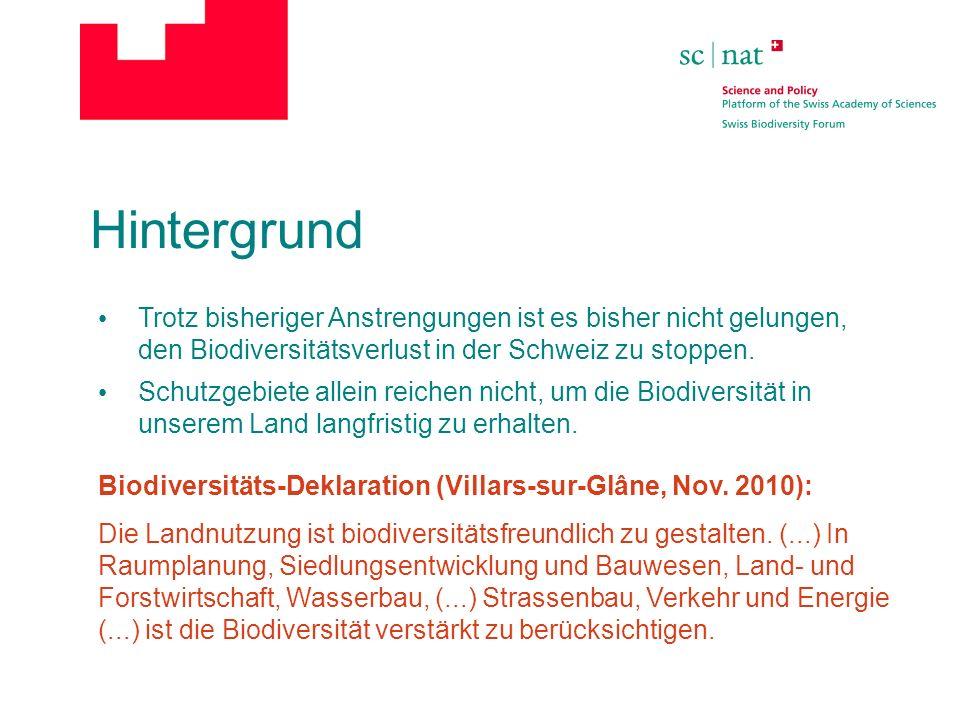 Hintergrund Trotz bisheriger Anstrengungen ist es bisher nicht gelungen, den Biodiversitätsverlust in der Schweiz zu stoppen.