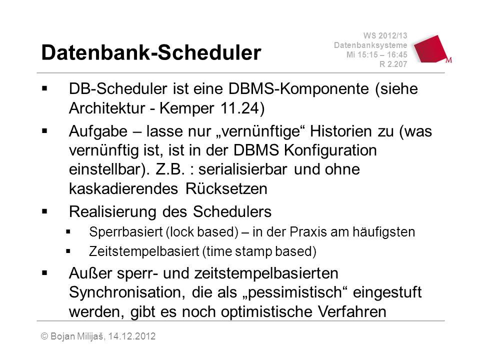 WS 2012/13 Datenbanksysteme Mi 15:15 – 16:45 R 2.207 © Bojan Milijaš, 14.12.2012 Datenbank-Scheduler DB-Scheduler ist eine DBMS-Komponente (siehe Arch