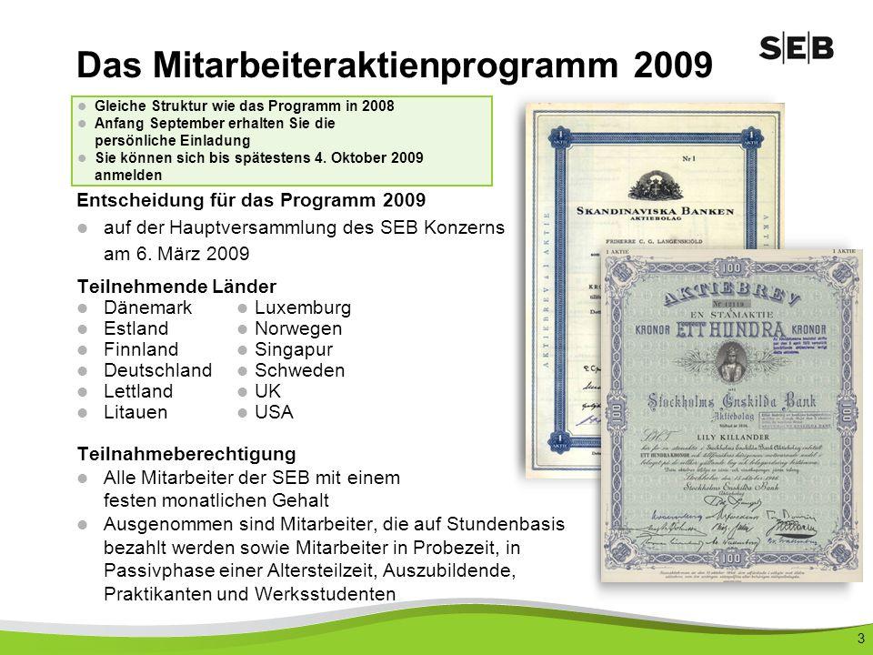 3 Entscheidung für das Programm 2009 auf der Hauptversammlung des SEB Konzerns am 6.