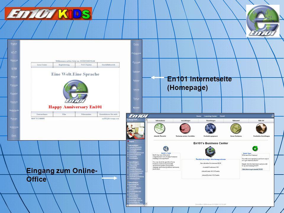 En101 Internetseite (Homepage) Eingang zum Online- Office