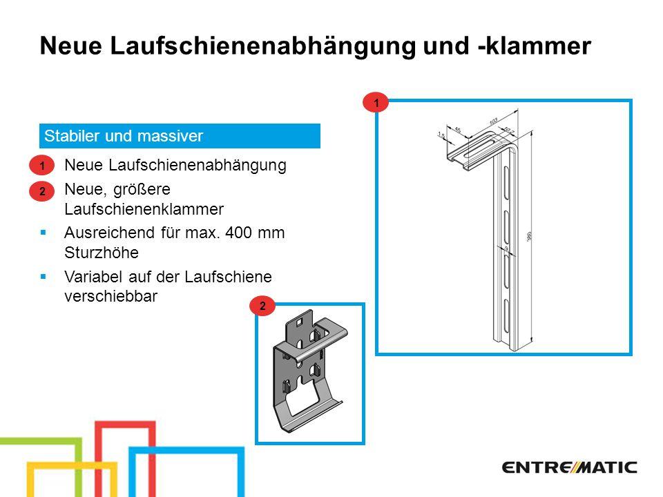 Neue Laufschienenabhängung und -klammer Stabiler und massiver Neue Laufschienenabhängung Neue, größere Laufschienenklammer Ausreichend für max. 400 mm