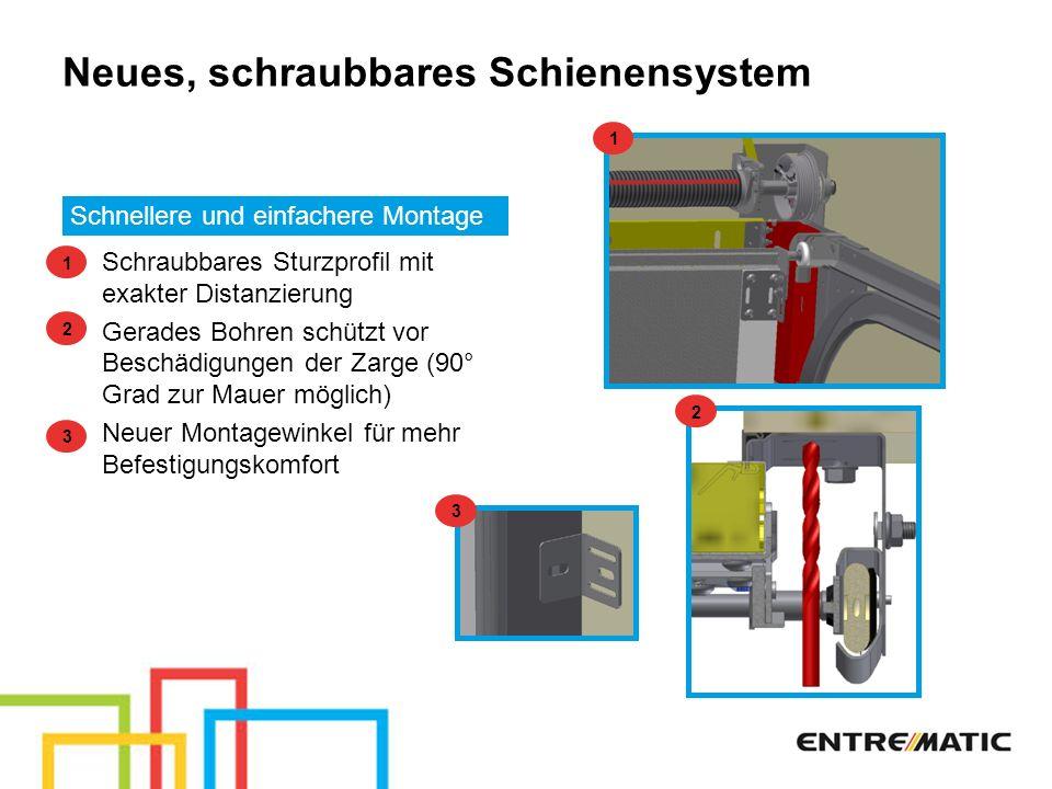 Neues, schraubbares Schienensystem Schnellere und einfachere Montage Schraubbares Sturzprofil mit exakter Distanzierung Gerades Bohren schützt vor Bes