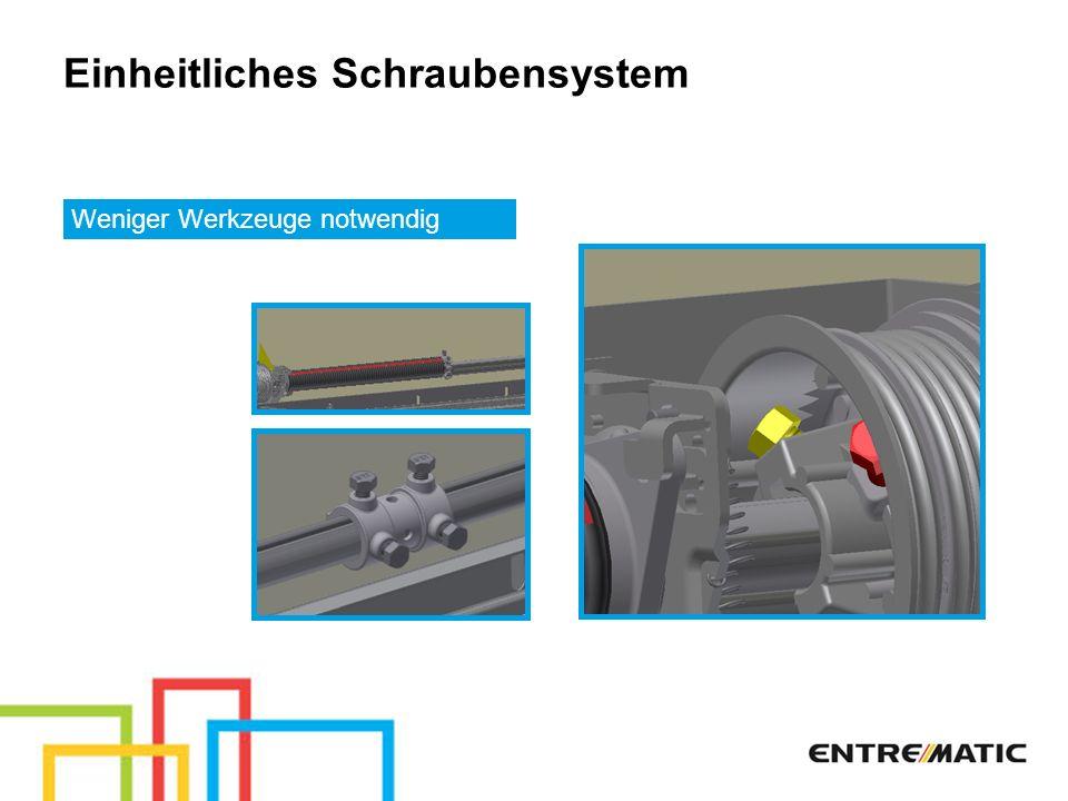 Einheitliches Schraubensystem Weniger Werkzeuge notwendig