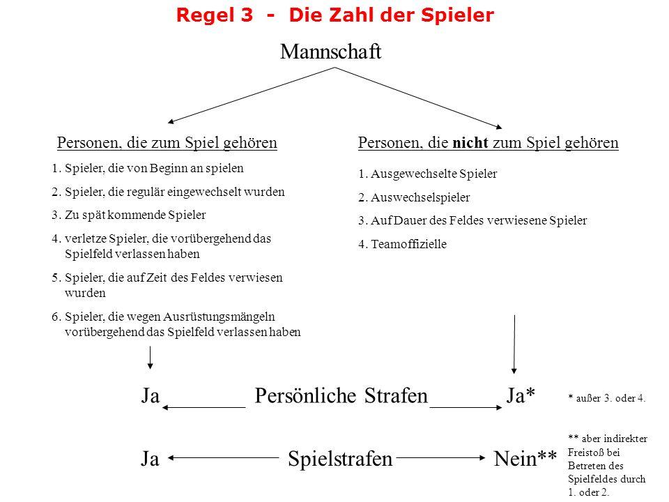 Regel 3 - Die Zahl der Spieler Entscheidungen: nächsten Spielunterbrechungverwarnt Bei einem unbemerkten Torwartwechsel im Laufe des Spiels oder in de