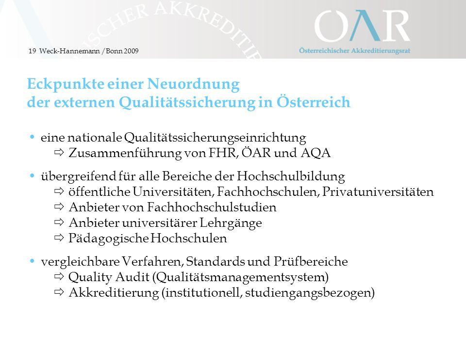 19 Eckpunkte einer Neuordnung der externen Qualitätssicherung in Österreich eine nationale Qualitätssicherungseinrichtung Zusammenführung von FHR, ÖAR