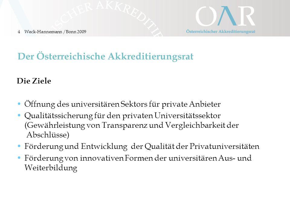 4 Der Österreichische Akkreditierungsrat Die Ziele Öffnung des universitären Sektors für private Anbieter Qualitätssicherung für den privaten Universi