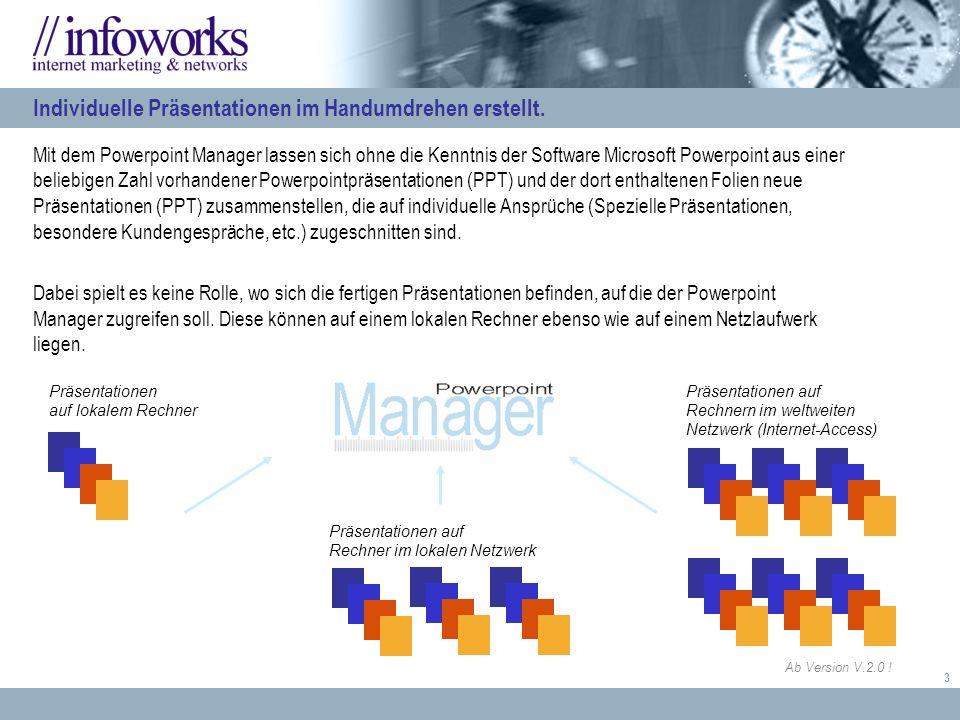4 In einem Profil werden physikalische Orte definiert an denen die Powerpointpräsentationen liegen (lokale Laufwerke, Netzlaufwerke), auf die der Powerpoint Manager zurückgreifen soll.