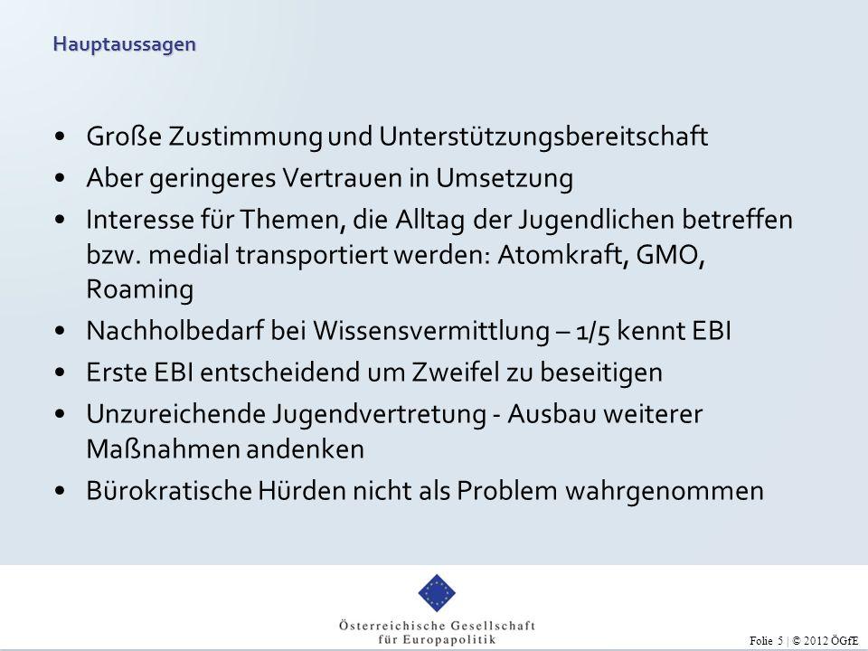 Folie 6 | © 2012 ÖGfE Österreichs Jugend fühlt sich unzureichend vertreten und möchte mehr mitreden.
