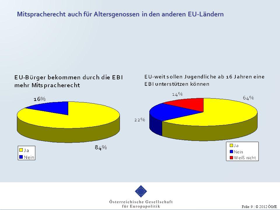 Folie 9 | © 2012 ÖGfE Mitspracherecht auch für Altersgenossen in den anderen EU-Ländern