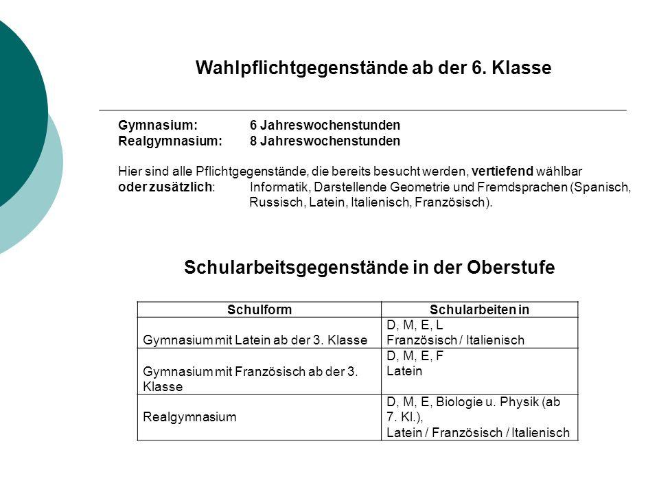 SchulformSchularbeiten in Gymnasium mit Latein ab der 3.